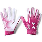 Under Armour Adult F6 Receiver Gloves in Pink/White