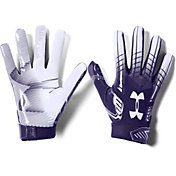 Under Armour Adult F6 Receiver Gloves in Purple/White