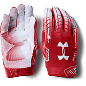 Under Armour Adult F6 Receiver Gloves in Red/White