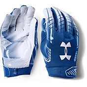 Under Armour Adult F6 Receiver Gloves in Royal/White