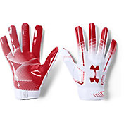 Under Armour Adult F6 Receiver Gloves in White/Red