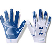 Under Armour Adult F6 Receiver Gloves in White/Royal