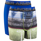 Under Armour Boys' Football Printed HeatGear Boxer Briefs – 2 Pack