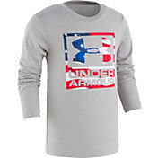 Under Armour Little Boys' Flag Wordmark Long Sleeve Shirt