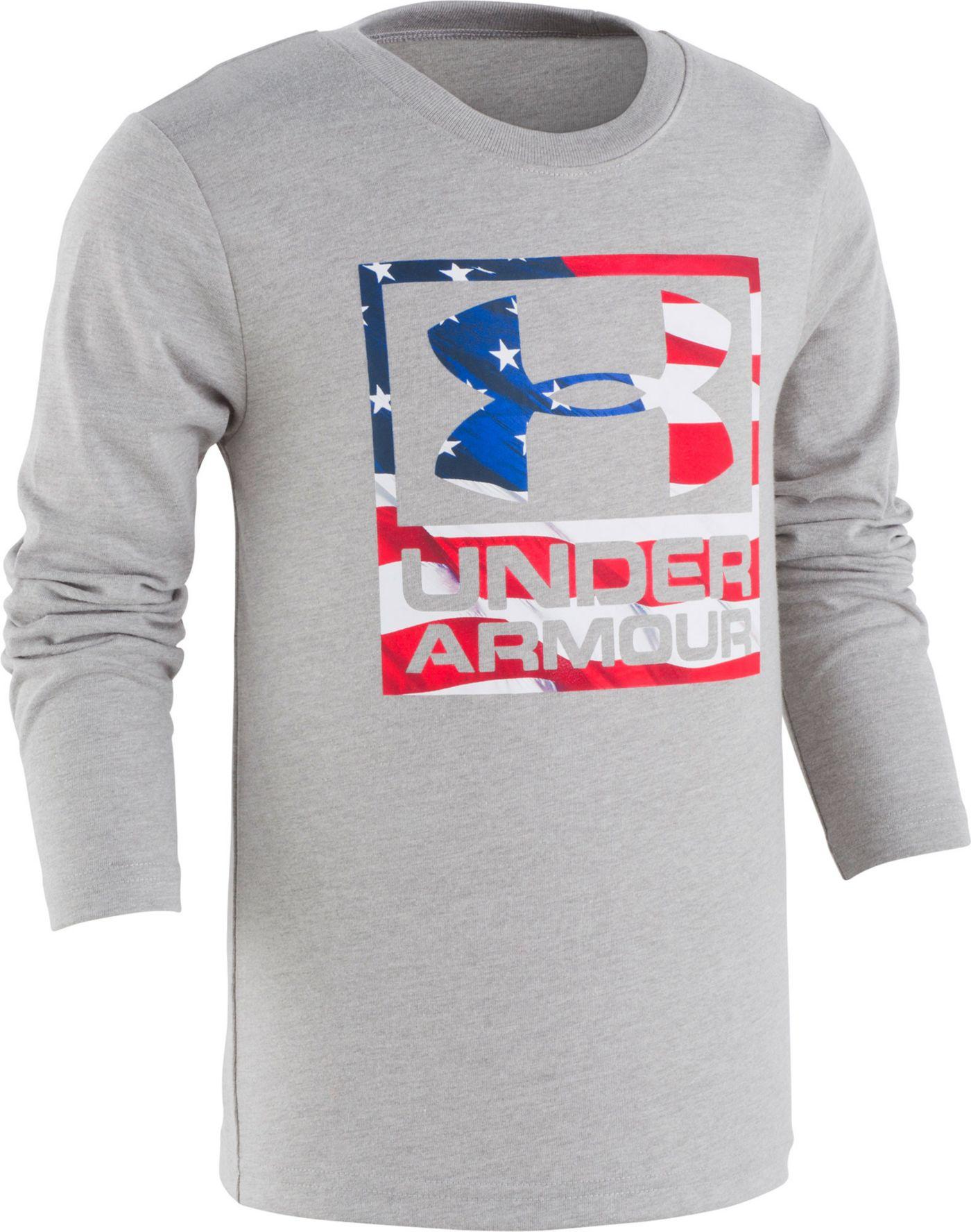 Under Armour Little Boys' Flag Wordmark Long Sleeve Shirt