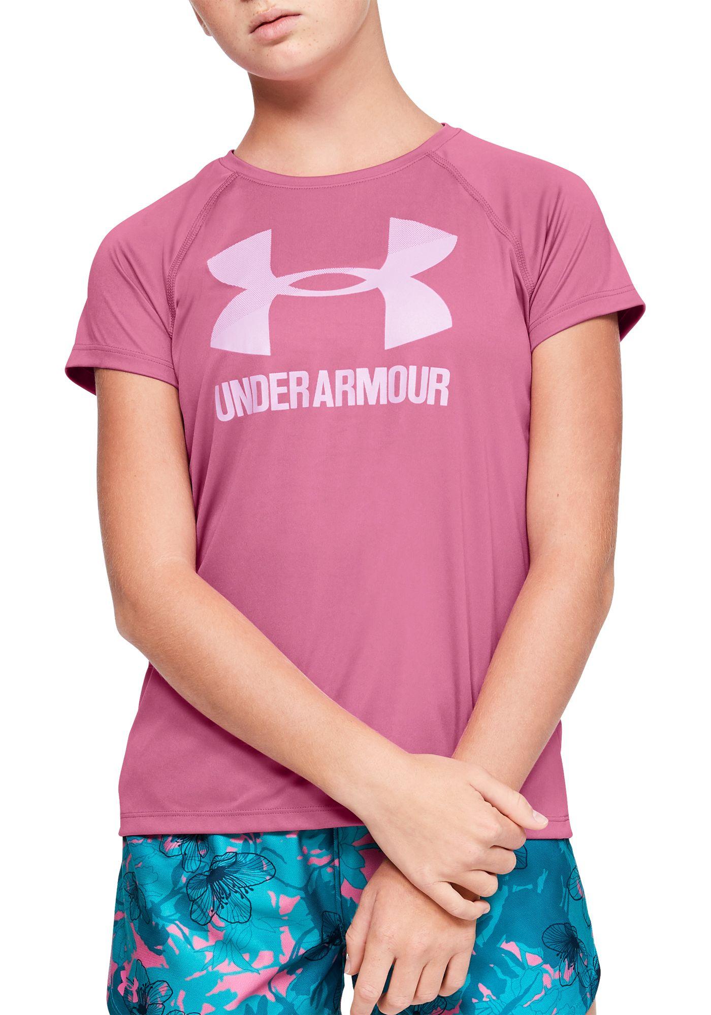 Under Armour Girls' Solid Big Logo T-Shirt
