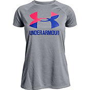 Under Armour Girls' Solid Big Logo T-Shirt