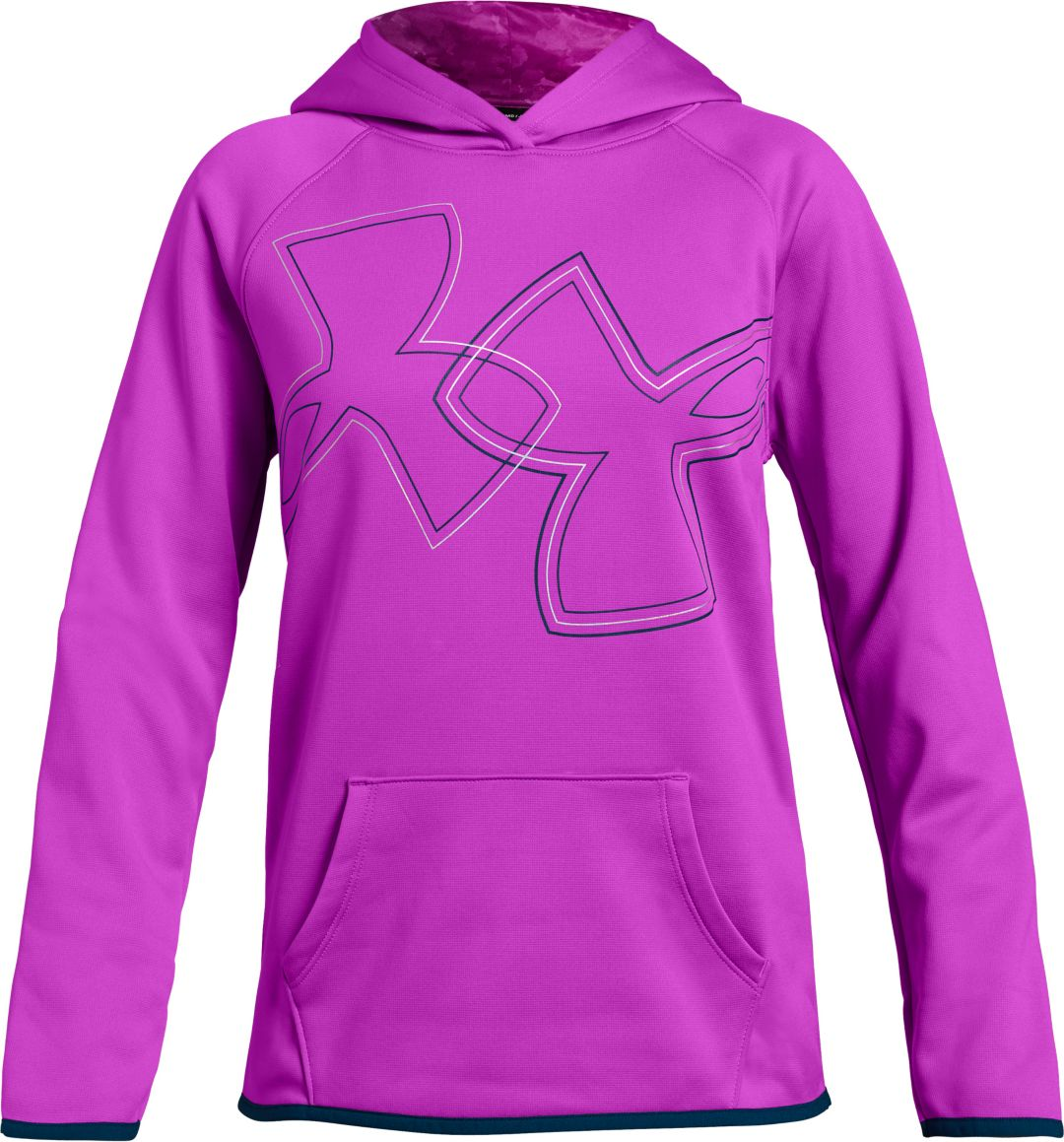 46689f43 Under Armour Girls' Armour Fleece Dual Logo Graphic Hoodie