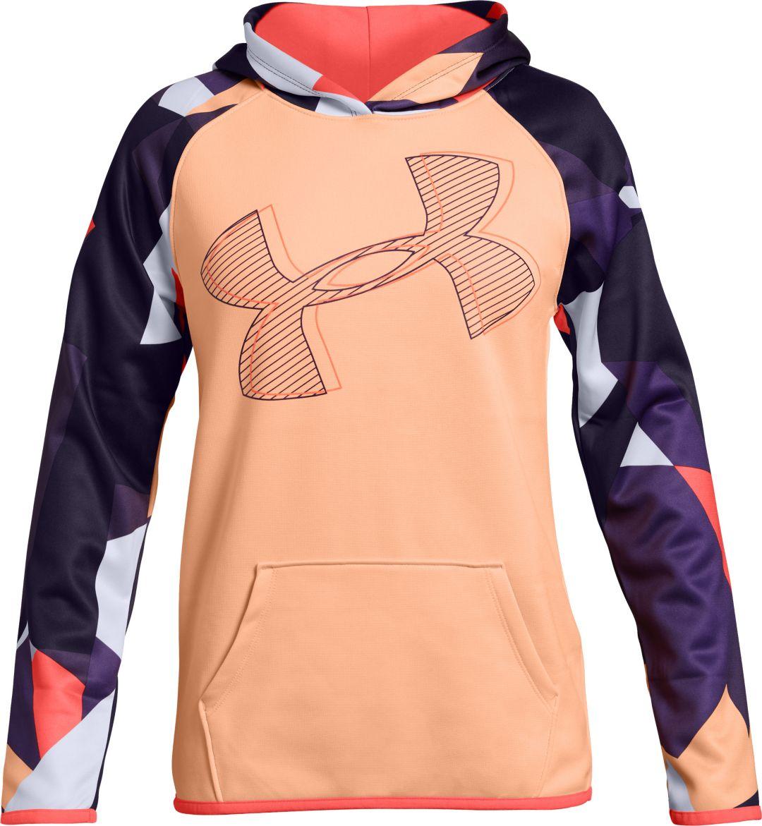 15e1d5a0 Under Armour Girls' Printed Armour Fleece Logo Hoodie