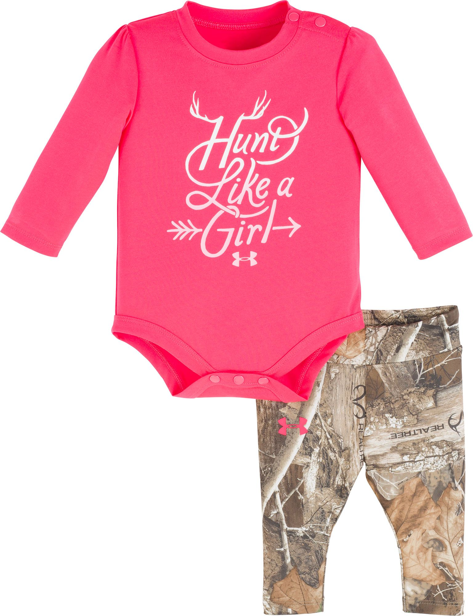Under Armour Newborn Girls' Hunt Like a Girl Long Sleeve Onesie and Pant Set, Girl's, Size: 6-9M, Penta Pink thumbnail