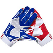 Under Armour Adult F6 Limited Edition Football Receiver Gloves in Metallic Usa