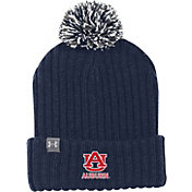 Under Armour Men's Auburn Tigers Blue Fundamental Pom Knit Beanie