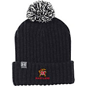 Under Armour Men's Maryland Terrapins Fundamental Pom Knit Black Beanie