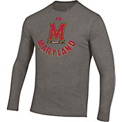 Under Armour Men's Maryland Terrapins Grey Tri-Blend Performance Long Sleeve T-Shirt