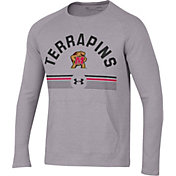 Under Armour Men's Maryland Terrapins Grey Aviator Waffle Long Sleeve T-Shirt