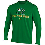 Under Armour Men's Notre Dame Fighting Irish Green Performance Cotton Long Sleeve T-Shirt