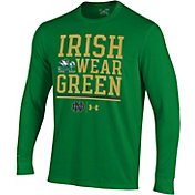 Under Armour Men's Notre Dame Fighting Irish Green Long Sleeve Performance Football T-Shirt