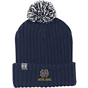 Under Armour Men's Notre Dame Fighting Irish Navy Fundamental Pom Knit Beanie