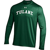 Under Armour Men's Tulane Green Wave Olive Long Sleeve Tech Performance T-Shirt