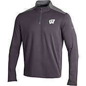 Under Armour Men's Wisconsin Badgers Grey Charged Cotton Quarter-Zip Shirt