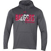 Under Armour Men's Wisconsin Badgers Grey Fleece Pullover Hoodie