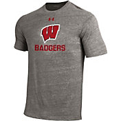 Under Armour Men's Wisconsin Badgers Grey Tri Blend Short Sleeve T-Shirt
