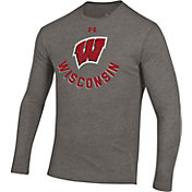 Under Armour Men's Wisconsin Badgers Grey Tri-Blend Performance Long Sleeve T-Shirt