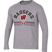 Under Armour Men's Wisconsin Badgers Grey Aviator Waffle Long Sleeve T-Shirt