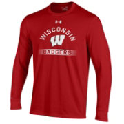 Under Armour Men's Wisconsin Badgers Red Charged Cotton Long Sleeve T-Shirt