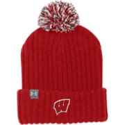 Under Armour Men's Wisconsin Badgers Red Fundamental Pom Knit Beanie