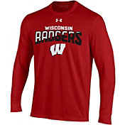 Under Armour Men's Wisconsin Badgers Red Performance Cotton Long Sleeve T-Shirt