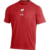 Under Armour Men's Wisconsin Badgers Red Sideline Football Performance T-Shirt