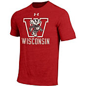Under Armour Men's Wisconsin Badgers Red Tri Blend Short Sleeve T-Shirt