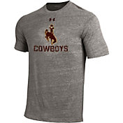 Under Armour Men's Wyoming Cowboys Grey Tri Blend Short Sleeve T-Shirt