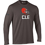 Under Armour NFL Combine Authentic Men's Cleveland Browns Lockup Cotton Brown Long Sleeve Shirt