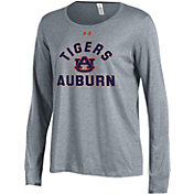 Under Armour Women's Auburn Tigers Grey Charged Cotton Long Sleeve Performance T-Shirt