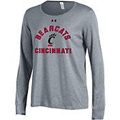 Under Armour Women's Cincinnati Bearcats Grey Charged Cotton Long Sleeve Performance T-Shirt