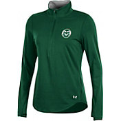 Under Armour Women's Colorado State Rams Green Charged Cotton Quarter-Zip Shirt