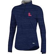 Under Armour Women's Ole Miss Rebels Blue Charged Cotton Quarter-Zip Shirt