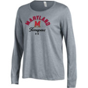 Under Armour Women's Maryland Terrapins Grey Charged Cotton Long Sleeve Performance T-Shirt