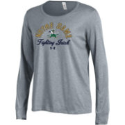Under Armour Women's Notre Dame Fighting Irish Grey Charged Cotton Long Sleeve Performance T-Shirt