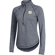 Under Armour Women's Notre Dame Fighting Irish Grey Threadborne Quarter-Zip Performance Fleece