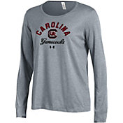 Under Armour Women's South Carolina Gamecocks Grey Charged Cotton Long Sleeve Performance T-Shirt
