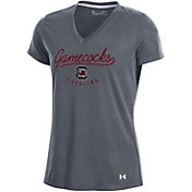 Under Armour Women's South Carolina Gamecocks Grey Threadborne V-Neck T-Shirt