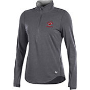 Under Armour Women's Wisconsin Badgers Grey Charged Cotton Quarter-Zip Shirt