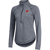 Under Armour Women's Wisconsin Badgers Grey Threadborne Quarter-Zip Performance Fleece