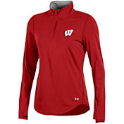 Under Armour Women's Wisconsin Badgers Red Charged Cotton Quarter-Zip Shirt