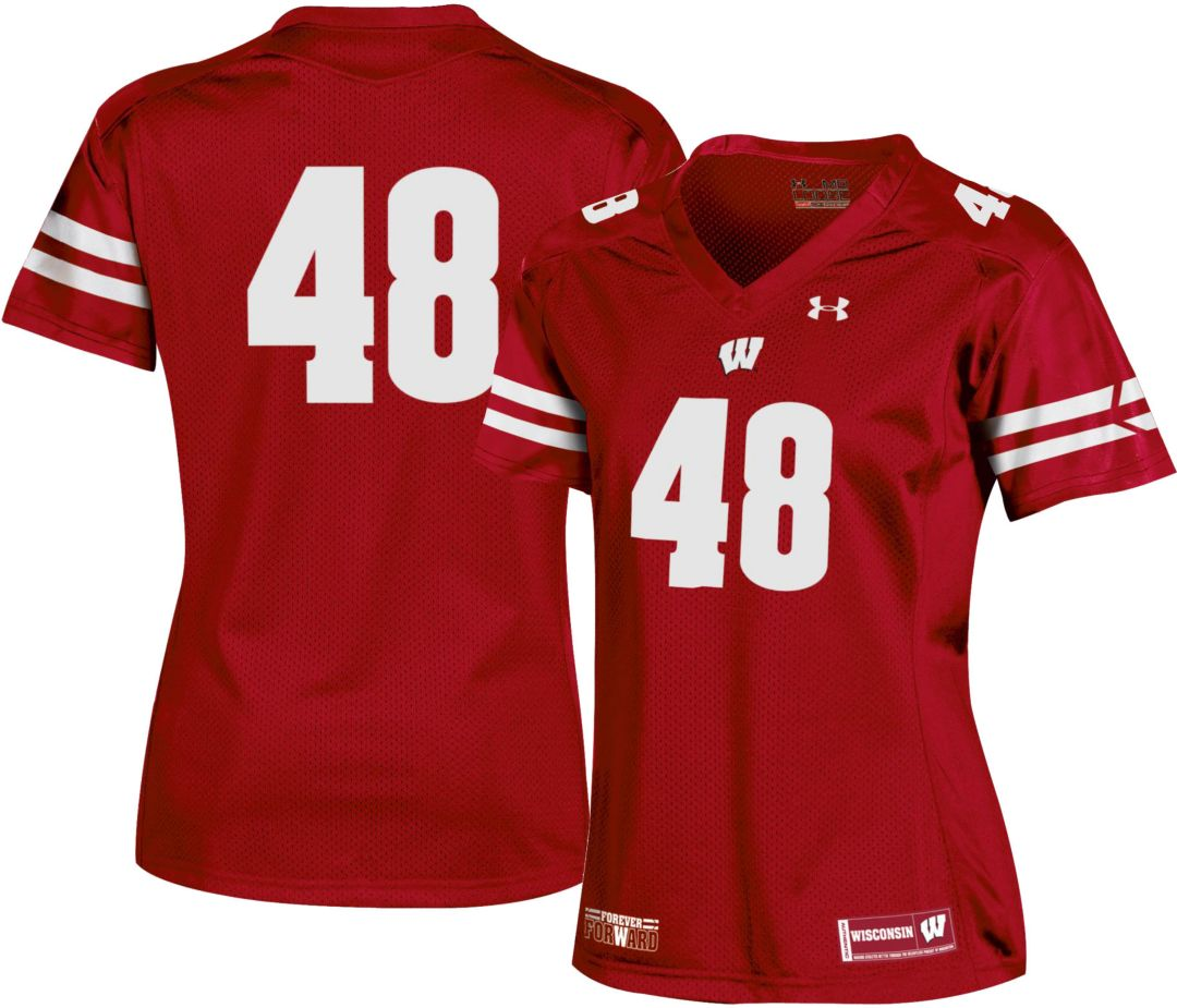 buy online 7be20 6b0ae Under Armour Women's Wisconsin Badgers #48 Red Replica Football Jersey