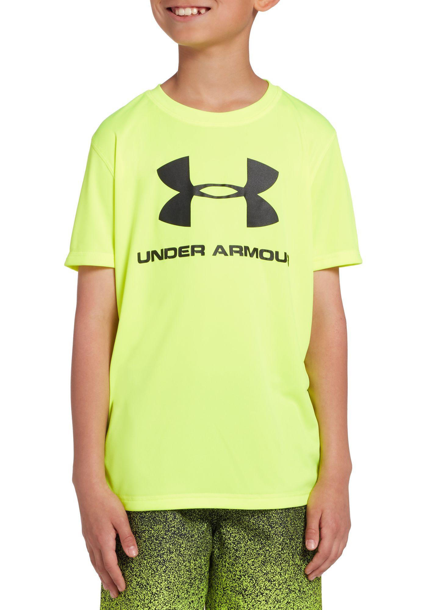 Under Armour Boys' Big Logo Short Sleeve Rash Guard