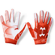 Under Armour Youth F6 Receiver Gloves in Dark Orange/White